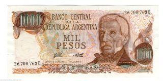 Argentina Note 1000 Pesos 1976 Serial D Porta - Diz P 304b Unc photo
