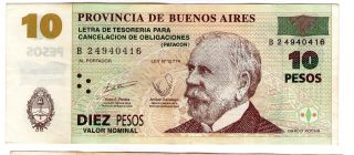 Argentina Note Emergency Buenos Aires 10 Pesos 2002 Serial B W/o Ink Ovi Axf photo