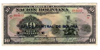 Bolivia Note 10 Bolivianos 1929 P 114 Axf photo
