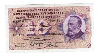Switzerland Note 10 Franken 28.  3.  1963 Sign 41 P 45h Xf photo
