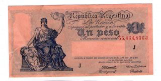 Argentina Note 1 Peso 1946 Serial J Gagneux - Cardenas P 251d Axf photo