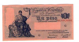 Argentina Note 1 Peso 1935 - 8 Serial G Prebisch - Bosch P 251a Aunc photo