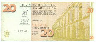 Argentina Note Emergency Cordoba 20 Pesos 2002 Serial G photo