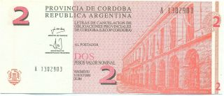 Argentina Note Emergency Cordoba 2 Pesos 2001 Serial A Unc photo