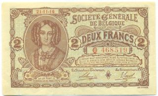 Belgium Note 2 Francs 21.  11.  1916 German Occupattion P 87 Xf+ photo