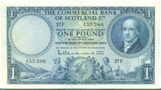 Scotland Note The Commercial Bank 1 Pound 2.  1.  1958 Vf++ P S336 photo