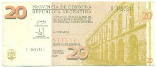 Argentina Note Emergency Cordoba 20 Pesos 2001 Serial D photo