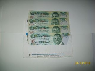 Four Bahamas 1 Dollar Banknote World Money Currency Caribbean Islands photo
