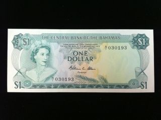 1974 Bahamas $1 One Dollar Note Signature W.  C.  Allen photo