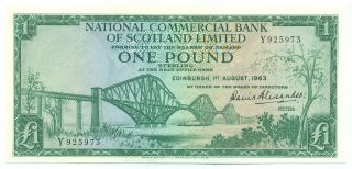 Scotland Note National Commercial Bank 1 Pound 1.  8.  1963 P 269 Aunc photo