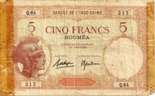 Caledonia Five Francs French Pacific Noumea 1926 In A Protective Sleeve photo
