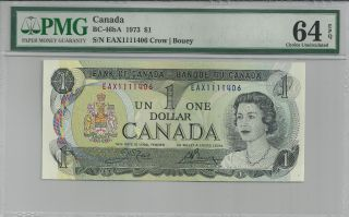 1973 Bc - 46ba Bank Of Canada $1 - Eax1111406 - Pmg Cunc 64 Epq Replacement photo