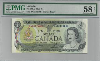 1973 Bc - 46ba Bank Of Canada $1 - Bax0124884 - Pmg Cau 58 Epq - Replacement photo