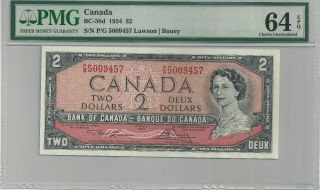 1954 Bc - 38d Bank Of Canada $2 Banknote - Pmg Choice Unc 64 Epq - P/g 5009457 photo