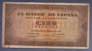 100 Pesetas Burgos 20 De Mayo 1938 Mbc+ EspaÑa/spain/spanien El De La Foto photo