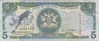 Trinidad & Tobago: 5 Dollars,  2002,  P - 42b (signature 8) photo