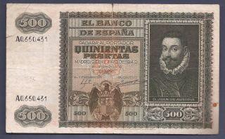 500 Pesetas Madrid 9 Enero1940 Juan De Austria Mbc EspaÑa/spain/ El De La Foto photo