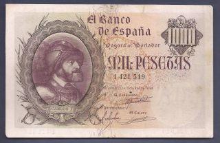 1000 Pesetas Carlos I EspaÑa Madrid 21 Octubre 1940 Mbc+ EspaÑa/spain/spanien photo