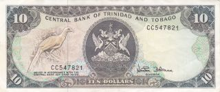 Trinidad & Tobago: 10 Dollars,  Nd (1985),  P - 38d (signature 7) photo