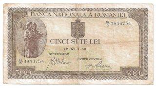 (r401101) Romania Paper Note - 500 Lei 1940 - Vf photo