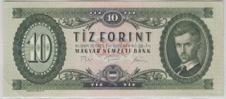 Hungary - Magyar Nemzeti Bank 1957 - 83 Issue 10 Forint - Pick 168 E photo