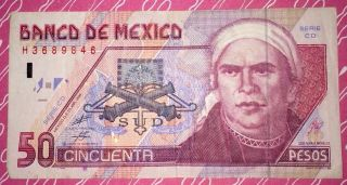 1999 Banco De Mexico 50 Pesos Note Foreign Paper Money photo