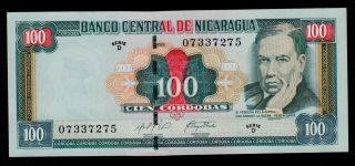 Nicaragua 100 Cordobas 1999 D Pick 190 Unc -. photo
