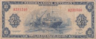 Netherlands Antilles: Two & 1/2 Gulden,  1955,  P - A1a,  Abnc photo