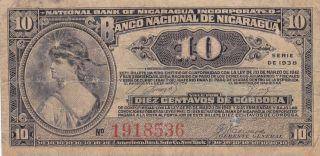 Nicaragua: 10 Centavos,  1938,  P - 87a,  Printer: Abnc photo