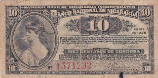 Nicaragua: Ten Centavos,  1938,  P - 87a,  Printer: Abnc photo