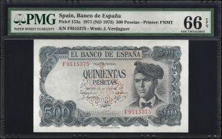 Spain 500 Pesetas 1971 - Pmg 66 Unc photo