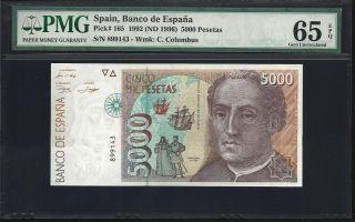 Spain 5000 Pesetas 1992 - Pmg 65 Unc photo