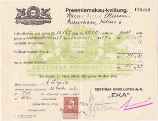 1938 Estonia Estimaa Kinlustus A.  S Insurance Premium Dc photo