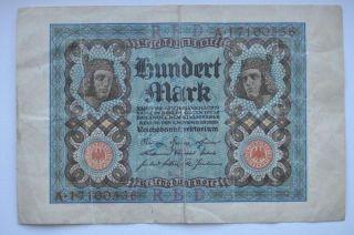Germany 1920 100 Mark Banknote In Vf photo