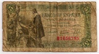 Spain 1945 Extremely Rare Five Pesetas Bank Note