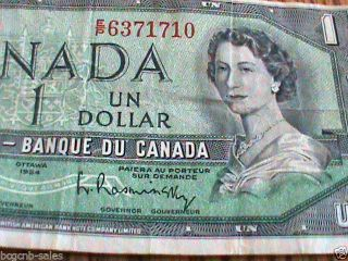 1954 Bank Of Canada One Dollar $1.  Bill Or Note photo
