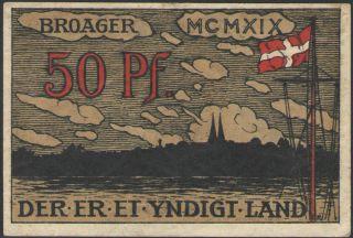 Denmark - 50 Pfennig Pf.  Note/notgeld/gutschein Broager/broagerland 1919 (xf+) photo