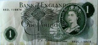Bank Of England One Pound Note Queen Elizabeth Ii Cashier John Fforde R62l11687 photo