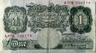 A77b300174 Large One Pound Note Bank Of England Cashier Kenneth Peppiatt 1934 45 photo