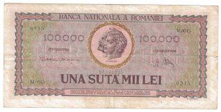 (r471802) Romania Paper Note - 100,  000 Lei 1947 - Xf photo