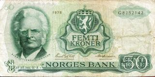 Norway 50 Kroner 1975 P - 37c F ' Prefix G ' photo