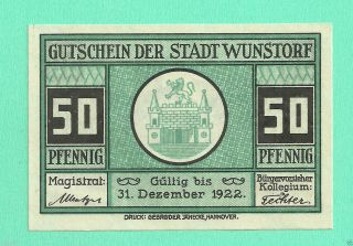 Germany Wunstorf 50 Pfg.  1922 Notgeld Unc Gem Crisp photo
