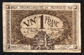 Monaco France 1 Franc P4 1920 Brown First Issue Rare Note photo