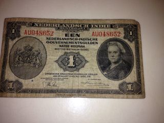 Paper Money Netherlands Indies 1943 1 Gulden photo