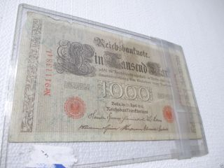 1910 Imperial Germany 1000 Mark Reichsbanknote Red Serial Numbers & Seal photo