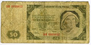 Poland 1948 - 50 Zlotych Note - Fisherman photo