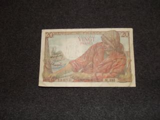 1949 France 20 (vingt) Francs Banknote photo