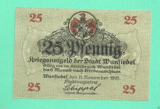 Germany Wunsiedel 25 Pfg.  1918 Unc Crisp Notgeld Gem 102238 photo