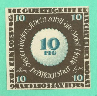 Germany Halle 10 Pfg.  1921 Notgeld Unc Gem Crisp A2 photo