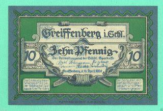Germany Greiffenberg (poland Notgeld Greifenberg Gryfów Śląski) 10 Pfg 1920 Gem photo